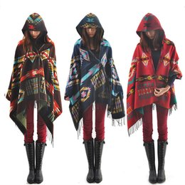 Wholesale Womens Shawl Cloak - Women Hooded Cape Women's Shawls Scarves Hooded Scarf Bohemian Shawl Geometry Cardigan Printed Boho Cloaks Poncho Coat Top Womens Clothing