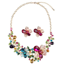 Wholesale Crystal Insect Necklaces - Wholesale - Shining Luxury Rhinestones Crystals Wedding Party Bridal Jewelry Set Including Necklace and Earrings Free Shipping