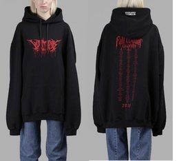 Wholesale Oversized Letters - Rare Cool 2018 hip hop design vetements Gothic font LOGO men and women Oversized pullover hoodie S to XL