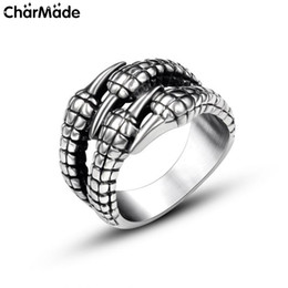 Wholesale Mens Rings Halloween - Antique Style Stainless Steel Gothic Dragon claw Mens Ring Women Biker Jewelry Accessories Size 7 to 12 8 9 10 11 R727