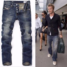 Wholesale Button Fly Men S Jeans - High Quanlity 2016 men famous brand blue denim designer high quality ripped jeans for men classic retro David Beckham