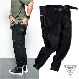 Wholesale Solid Zipper Ties - Men's Fashion Black Cargo Pants Casual Sweat pants for Men Outdoors Overalls ankle-tied pencil pants braided straps