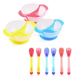 Wholesale Temperature Spoons - Baby Bowl Slip-resistant Tableware Set Infants feeding Bowl With Sucker and Temperature Sensing Spoon Suction Cup Hot Selling