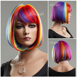 Wholesale Straight Rainbow Wigs - W3720 Brand New Rainbow Color Women Bob Hairpiece Party Synthetic Full Wig 12 inches Long Straight Individual