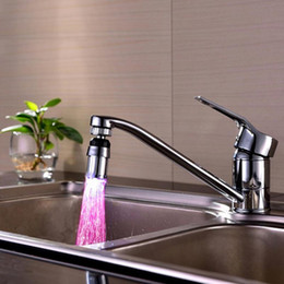Wholesale Change Sink Tap - Wholesale- New Kitchen Sink Water Faucet Light LED 7 Colors Changing Glow Shower Stream Tap Kitchen Bathroom
