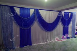 Wholesale Background Backdrop 3m - 3m*6m(10ft*20ft) Beautiful Royal Blue Wedding Backdrop Sequins Swag Ice Silk Stage Background Curtain Wedding Decorations