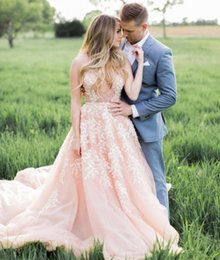 Wholesale Charming Organza Wedding Dresses - Sexy Blush Pink Wedding Dresses with White Lace Appliques Charming Plunging Deep V-Neck See Through Top Backless Sheer Bridal Gowns Modest