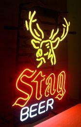 """Wholesale Deer Signs - Stag Beer Deer Neon Sign Handmade Custom Real Glass Tube Beer Bar KTV Club Disco Store Pub Neon Signs Free Design 10""""X19"""""""