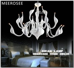 Wholesale Iron Lamp Fashion - Good Quality 18 Lights Fashion White Swan Chandelier Light   Lamp   Lighting Fixture Black Swan Hanging Suspension Drop Light Lamparas Lamp