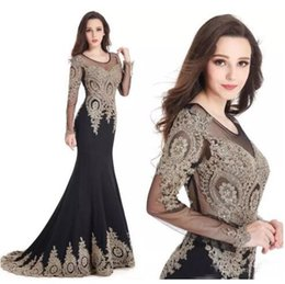 Wholesale Dark Blue Spandex Shirt - 2018 Gold Lace Appliqued Black Mermaid Evening Dresses Jewel Sheer Long Sleeves Sequined Sweep Train Formal Evening Party Gowns