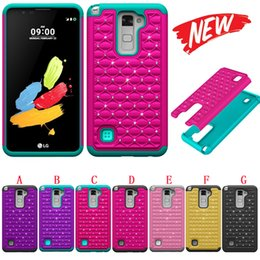 Wholesale Pc Zone - Hybrid Diamond 2 in 1 Hard PC Silicone Case Bling Shockproof Dual Layer For LG LS775 Stylus 2 G Stylo 2 K4 Optimus Zone 3 Spree VS425 Luxury