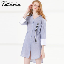 Wholesale Women Button Down Shirt White - Short dress For Women White And Blue Striped Shirt Dress Three Quarter Sleeve Turn down Collor Causal Dress Ladies Garemay 019