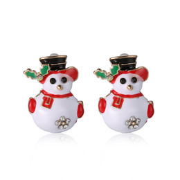 Wholesale Christmas Bell Charms - The Girls Ear Stud Earrings Christmas Earrings Santa Snowman Christmas Tree Bell Earring Stud Earrings Holiday Gifts for Womens