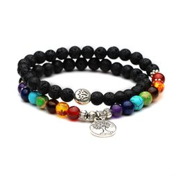 Wholesale 6mm acrylic beads - 7 Chakra 6mm Silver Bracelet Black Lava Stone Life Tree Healing Balance Beads Reiki Buddha Prayer Natural Stone Yoga Bracelet Gift D233S