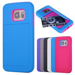Wholesale Plastic Cases For Business Cards - For iphone 6 7 plus Galaxy S7 Edge Credit Business ID Card Slot Holder Robot Hybrid TPU Phone Back Case Cover for Samsung