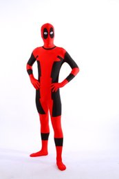 Wholesale Costumes For Kids Deadpool - HALLOWEEN Cosplay marvel red spandex full body Deadpool Costume adult for party shows