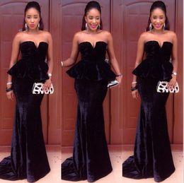 veludo de veludo vermelho Desconto New Black Velvet Longos Vestidos de Noite 2017 Sereia Querida Prom Party Vestidos Backless Celebridade Runway Red Carpet Dresses Custom Made