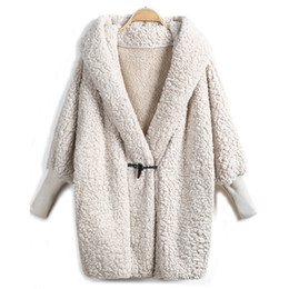 Wholesale Ribbed Belts - 2016 Hooded Outwear Winter Newest Fashion Design Women's Apricot Batwing Long Sleeve Loose Streetwear Hoody White Coat