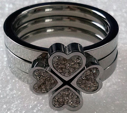 Wholesale Three Leaves Clover - 316L Stainless Steel Lady's Lucky Flower Four Leaves Clover Ring,Combined Three in One Crystals Ring SZ#6-9,Two Colors Choice