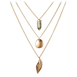 Wholesale Multi Layered Gold Necklace - Women's Jewelry Teardrop Leaf and Coin Turquoise Gold and Silver Tassel Three Multi Layered Necklaces for Women Maxi Necklace