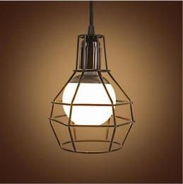 Wholesale Birdcage Style Lighting - New design Retro Wrought Iron LED Pendant Lights E27 American Style Vintage Industrial Lighting Birdcage Pendant Light Droplight Fixtures