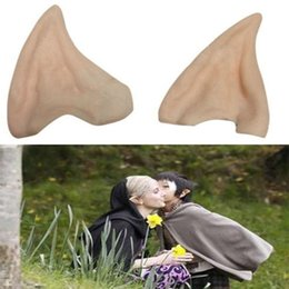 Wholesale Christmas Fairies Elves - hot sale Latex Fairy Pixie Elf Ears Cosplay Accessories Halloween Party Latex Soft Pointed Prosthetic Tips Ear