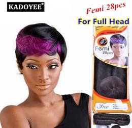 Remi tejido pelo online-Alfombra brasileña remy armadura de cabello humano Ruby Remi Femi 28 piezas 100% virgen humano cabello paquetes Tejido para mujeres negras