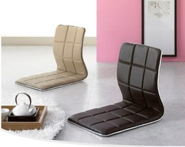 Wholesale Zaisu Wholesaler - (4pcs lot) PU Leather chair and grid pad Zaisu Chair Wholesale Living Room Furniture Fabric Cushion Japanese Tatami Floor Legless Chair