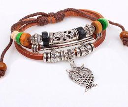 Wholesale Wood Owl Chain - 2016 Hot Korean jewelry trend fashion lovely owl multilayer beaded bracelet wooden bead bracelet leather cortex