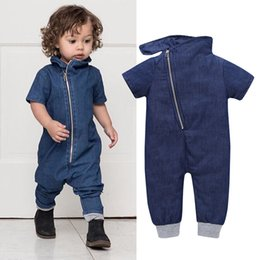 Wholesale Cheap Wholesale Toddler Clothes - Baby Boy Fashion Denim Romper Short Sleeves Overall Jumpsuit Solid Color Bodysuit for Toddler Boys High Quality Cheap Kids Clothes