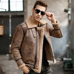 Wholesale Men Leather Aviator Jacket - Fall-Men's real leather jacket motorcycle pigskin Genuine Leather jackets winter warm coat Aviator jacket flight bomber jacket