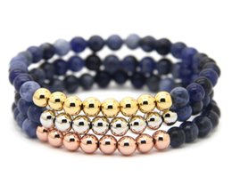 Wholesale blue elastic bracelet - Wholesale 10pcs lot 6mm Blue Veins Stone beads with 18kt Real Gold, Rose Gold, Platinum Plated Round Bronze Elastic Bracelets