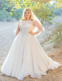 Wholesale Top Fall Winter Wedding Dresses - 2016 Modest Plus Size Lace Wedding Dresses Jewel A Line Lace Top Beaded Sash Sweep Train Tulle Wedding Gowns Custom Made