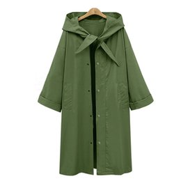 Wholesale Long Green Trench Coat - 2017 autumn and winter European and American new style long, pure color hooded hooded trench coat