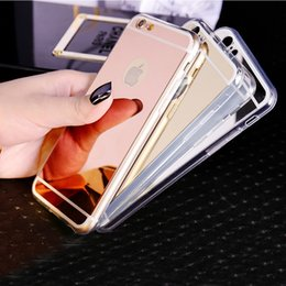 Wholesale Iphone 5s Mirror Case - Luxury Mirror Electroplating Soft TPU Gel Case Cover For iPhone 5 5S 6 6S 7 8 Plus Samsung Galaxy S6 S7 Edge S8 Note8