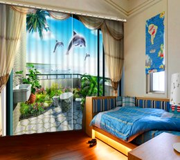 Wholesale Beautiful Curtains - Balcony beach Top Quality Home Decoration Fashion 3D Home Decor Beautiful window curtains Kids Room 3D Curtain factory direct sale