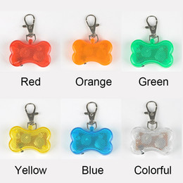 Wholesale Bell Dog - 10pcs lot Cute Bone Style Safety Red Flashing LED Light Pet Dog Collar Pendant Charms