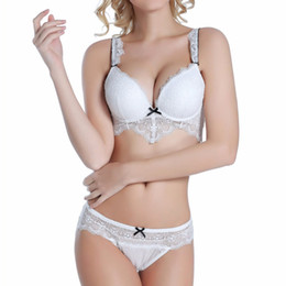 Wholesale Romantic French - 32-38 ABC cup French romantic full lace sexy women bra set hollow out transparent cross bra and brief push up underwear set