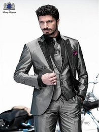 Wholesale Mens Three Button Suits - 2016 Gray Mens Suits for Wedding Three Piece Grooms Tuxedos One Button Peak Lapel Cheap Custom Made Wedding Suit under 100
