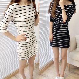 Wholesale Korean Bodycon Skirt - Dress long section t-shirt female wholesale Summer stripes tight Korean version of the short-sleeved large size student dress skirt tide