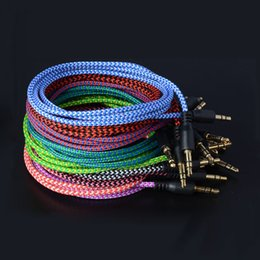 Wholesale Car Stereo Jack - Braided Audio Auxiliary Cable 1m 3.5mm Wave AUX Extension Male to Male Stereo Car Nylon Cord Jack For smartphone PC MP3 Headphone Speaker