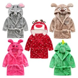 Wholesale Cartoon Hoodie - Children Cartoon animal Hoodie Coral Fleece Bathrobe Unisex Kids cute animal Robe Pajamas Sleepwear Flannel Nightgown