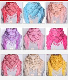 Wholesale Short Pashmina - 2017 new fashion style and thick warm rose Sequin scarf female short lace tassel Scarf Shawl