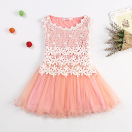 Wholesale Silk Flowers For Clothes - Baby Girls Dress Sleeveless One Piece Flower Lace Ruffles Wave Princess Tutu Dresses Toddler Kids Clothes For Summer vestidos
