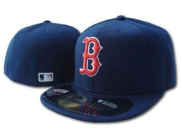 Wholesale Close Fit - 2018 New Red Sox In Full Navy Blue Color Fitted Flat Hats Red B Letter Embroidered Closed Caps Hip Hop Design One Piece
