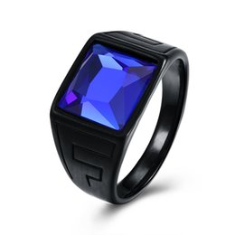 Wholesale Black Stone Crystal Ring - Black Gun Color Men Ring 316L Stainless Steel Signet Engagement Wedding Band Blue Glass Stone Rings Party Retro Jewelry Anillos Anel Bijoux