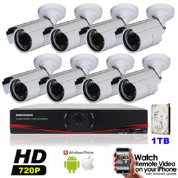 Wholesale Dvr Kit 1tb - 1MP HD 8 Channel Surveillance 1280*720P Home Bullet Security Camera DVR Kit AHD 1200TVL Outdoor 8CH CCTV System Kit 1TB HDD