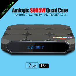 Wholesale Wifi Display Tv Box - New Amlogic S905W A95X R2 Android 7.1 TV BOX 2GB 16GB Quad Core KD 17.3 LCD Display HD 4K 3D WiFi Media Player Boxes Better S905X X96 mini