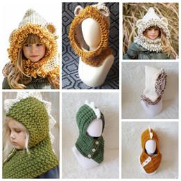 Wholesale Bear Warmer - Kids Winter Knitted Hats Scarf kids Dinosaur Bear Crochet caps children warm beanie girls cartoon animal shawl capes cap KKA3453