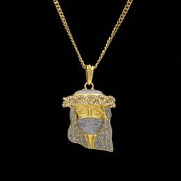 Wholesale Ninja Gold - Silver Masked Jesus head Rhinestone Pendant Fashion Punk Jewelry Gold Plated Hip Hop Ninja Pendant Necklace Cuban Chain